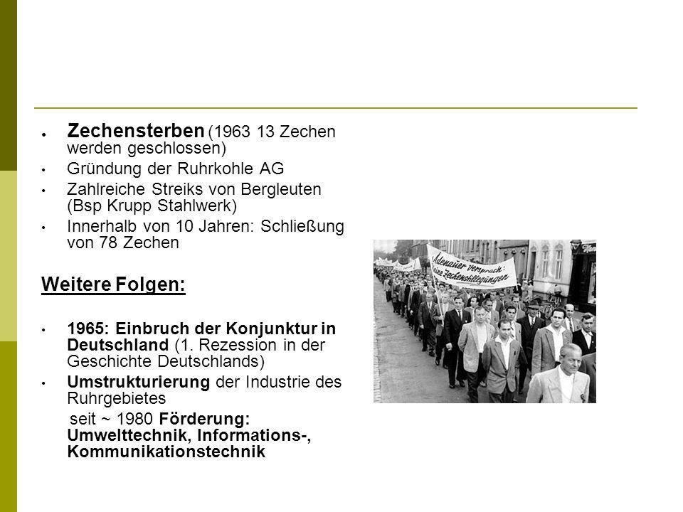 Zechensterben (1963 13 Zechen werden geschlossen) Gründung der Ruhrkohle AG Zahlreiche Streiks von Bergleuten (Bsp Krupp Stahlwerk) Innerhalb von 10 J