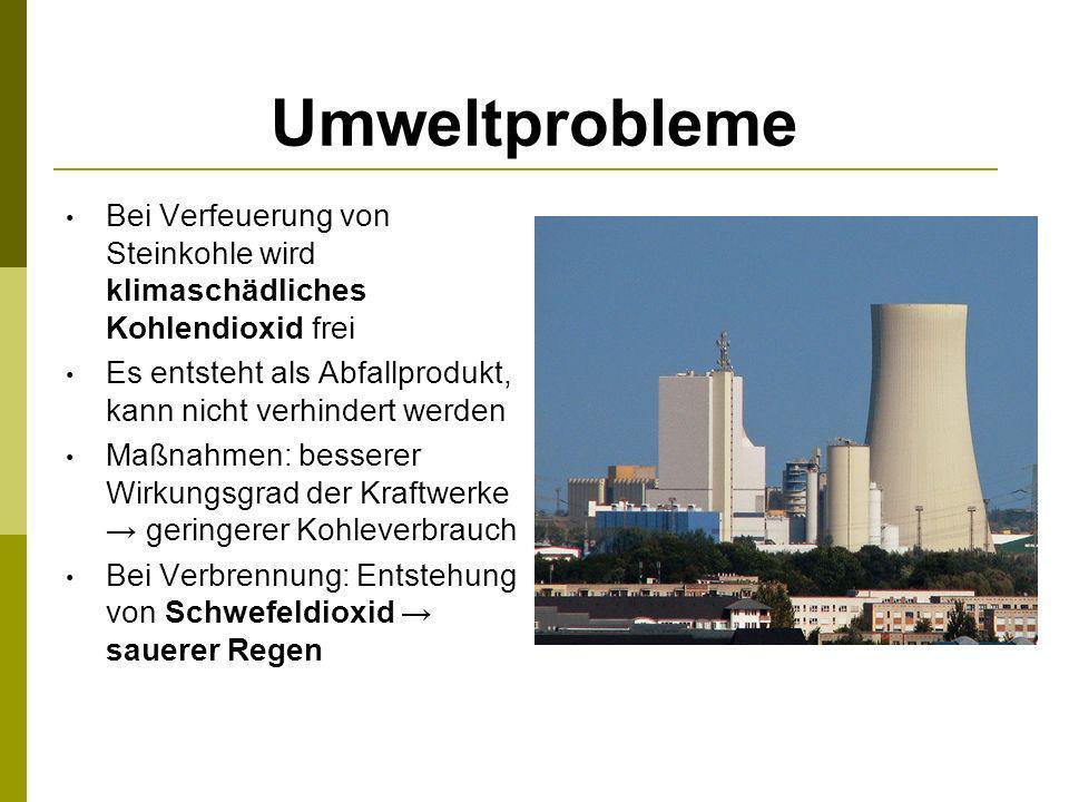 Umweltprobleme Bei Verfeuerung von Steinkohle wird klimaschädliches Kohlendioxid frei Es entsteht als Abfallprodukt, kann nicht verhindert werden Maßn