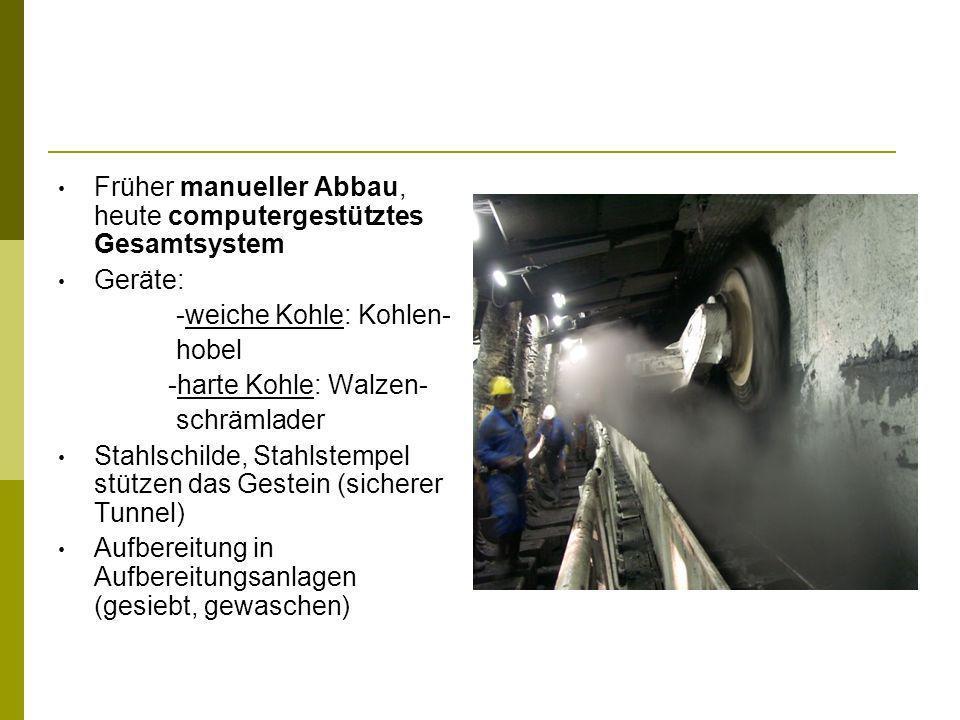 Früher manueller Abbau, heute computergestütztes Gesamtsystem Geräte: -weiche Kohle: Kohlen- hobel -harte Kohle: Walzen- schrämlader Stahlschilde, Sta