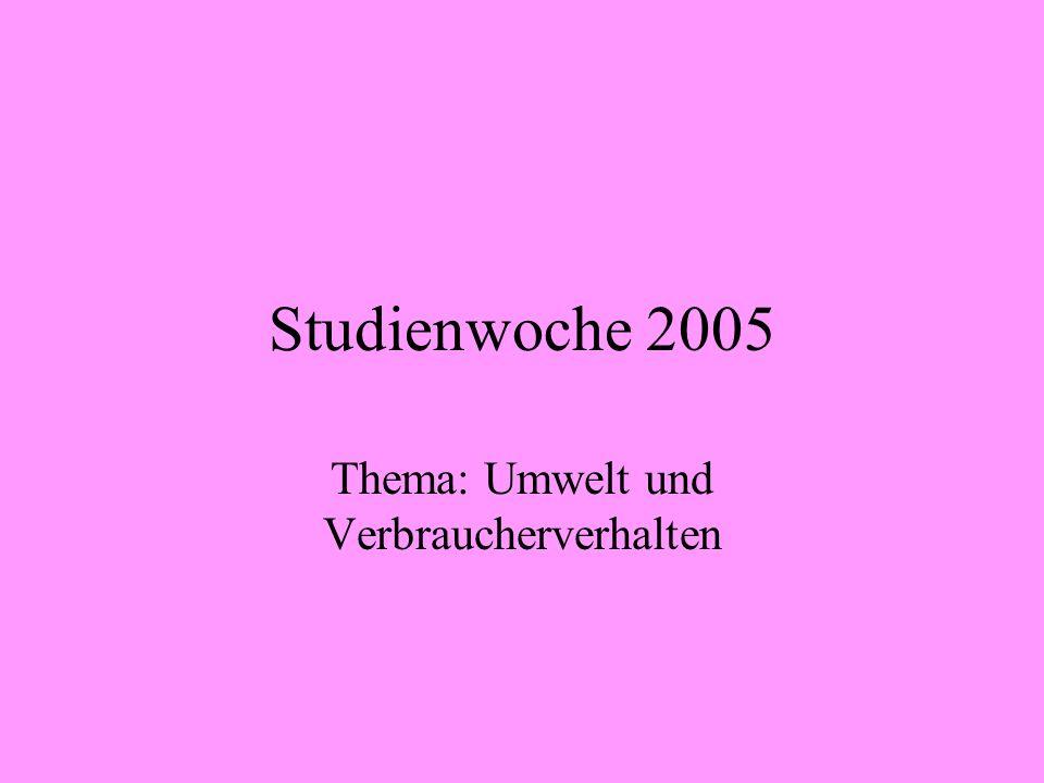 Studienwoche 2005 Thema: Umwelt und Verbraucherverhalten