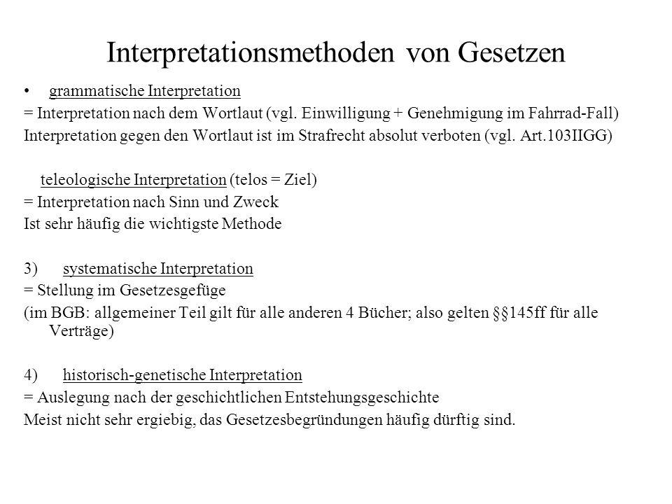Interpretationsmethoden von Gesetzen grammatische Interpretation = Interpretation nach dem Wortlaut (vgl. Einwilligung + Genehmigung im Fahrrad-Fall)