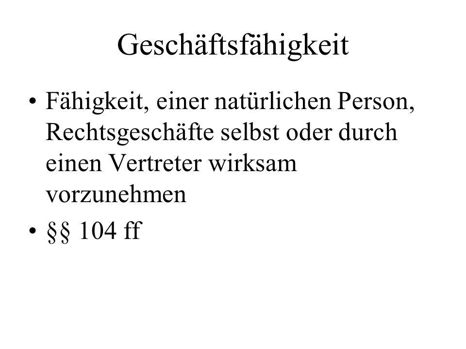 Geschäftsfähigkeit Fähigkeit, einer natürlichen Person, Rechtsgeschäfte selbst oder durch einen Vertreter wirksam vorzunehmen §§ 104 ff