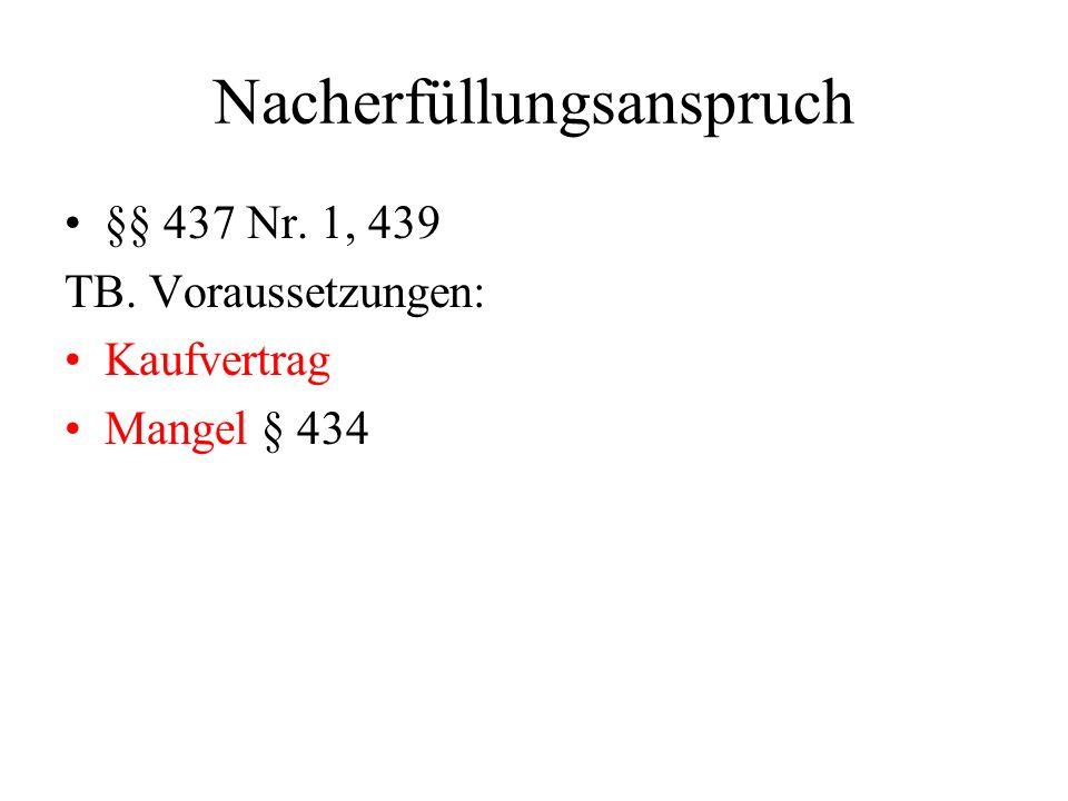 Nacherfüllungsanspruch §§ 437 Nr. 1, 439 TB. Voraussetzungen: Kaufvertrag Mangel § 434