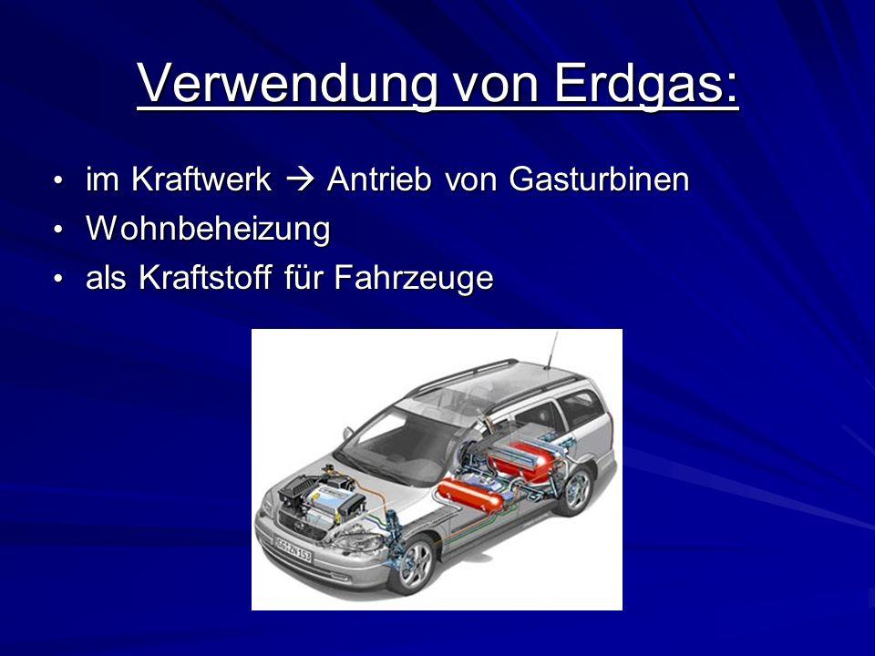 Verwendung von Erdgas: im Kraftwerk Antrieb von Gasturbinen im Kraftwerk Antrieb von Gasturbinen Wohnbeheizung Wohnbeheizung als Kraftstoff für Fahrze