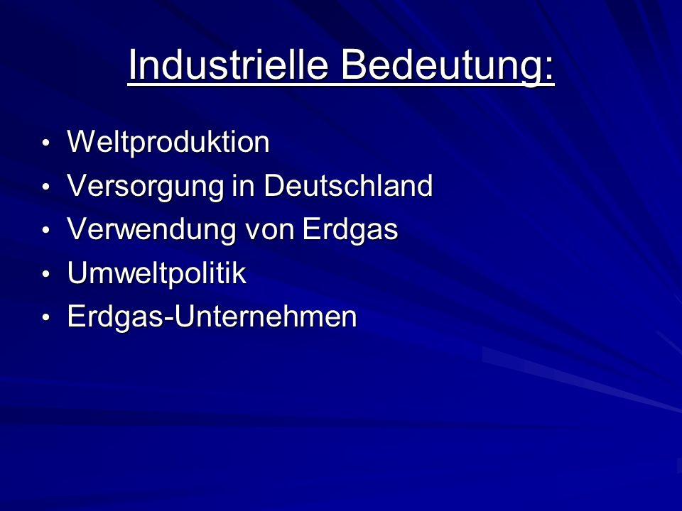 Industrielle Bedeutung: Weltproduktion Weltproduktion Versorgung in Deutschland Versorgung in Deutschland Verwendung von Erdgas Verwendung von Erdgas