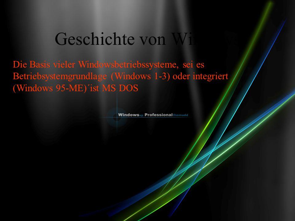 Geschichte von Windows Die Basis vieler Windowsbetriebssysteme, sei es Betriebsystemgrundlage (Windows 1-3) oder integriert (Windows 95-ME)´ist MS DOS