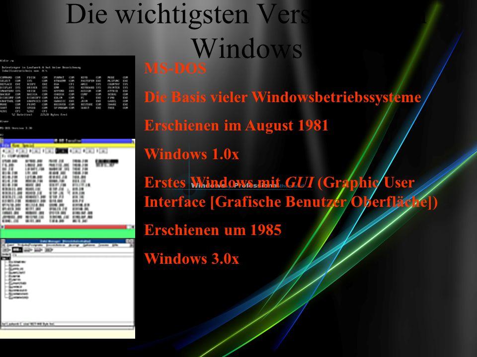 Die wichtigsten Versionen von Windows MS-DOS Die Basis vieler Windowsbetriebssysteme Erschienen im August 1981 Windows 1.0x Erstes Windows mit GUI (Graphic User Interface [Grafische Benutzer Oberfläche]) Erschienen um 1985 Windows 3.0x