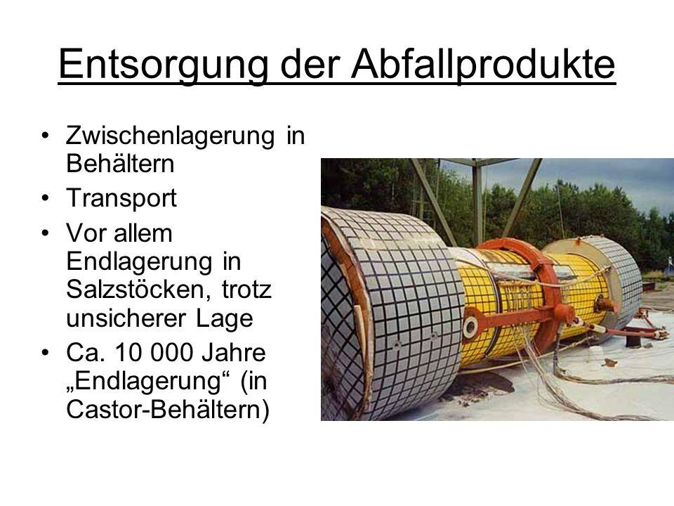 Entsorgung der Abfallprodukte Zwischenlagerung in Behältern Transport Vor allem Endlagerung in Salzstöcken, trotz unsicherer Lage Ca. 10 000 Jahre End