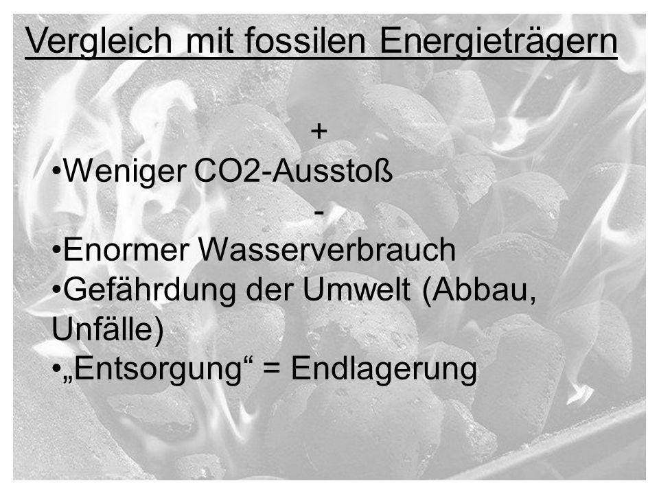 Vergleich mit fossilen Energieträgern + Weniger CO2-Ausstoß - Enormer Wasserverbrauch Gefährdung der Umwelt (Abbau, Unfälle) Entsorgung = Endlagerung