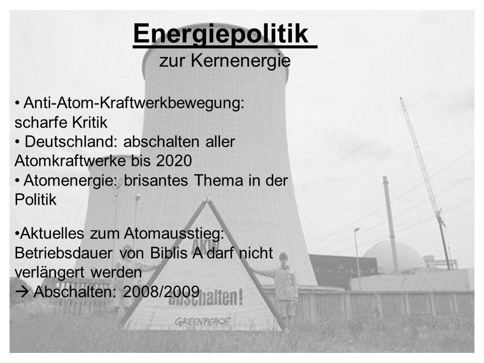 Anti-Atom-Kraftwerkbewegung: scharfe Kritik Deutschland: abschalten aller Atomkraftwerke bis 2020 Atomenergie: brisantes Thema in der Politik Aktuelle