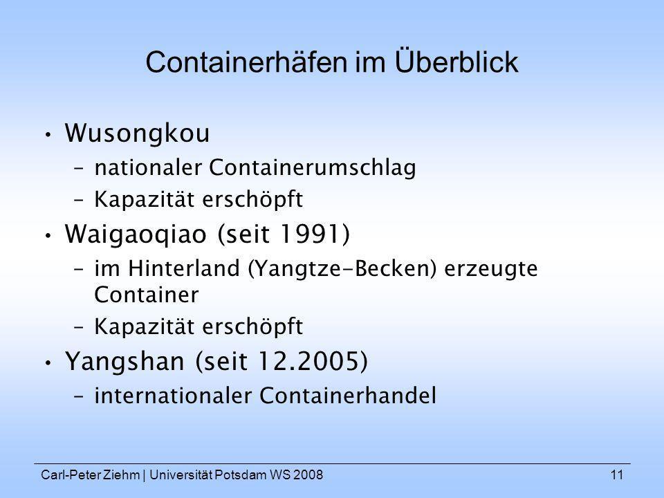 Carl-Peter Ziehm   Universität Potsdam WS 200811 Containerhäfen im Überblick Wusongkou –nationaler Containerumschlag –Kapazität erschöpft Waigaoqiao (