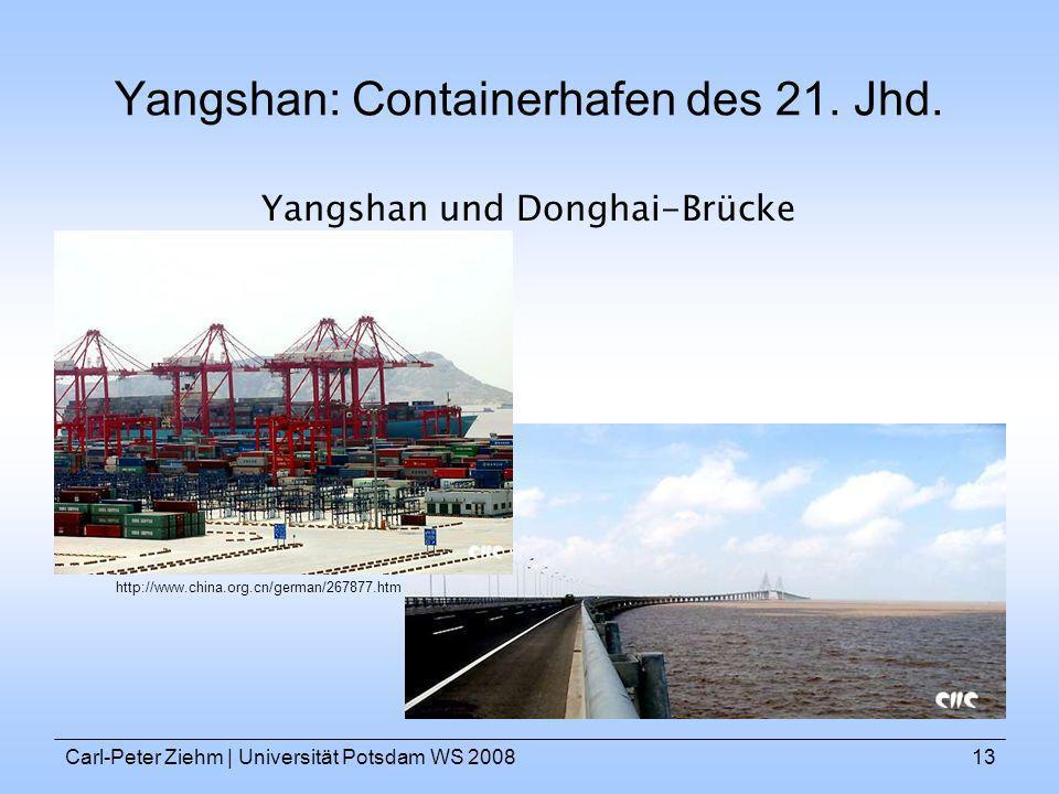 Carl-Peter Ziehm   Universität Potsdam WS 200813 Yangshan: Containerhafen des 21. Jhd. Yangshan und Donghai-Brücke http://www.china.org.cn/german/2678