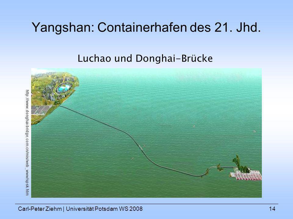 Carl-Peter Ziehm   Universität Potsdam WS 200814 Yangshan: Containerhafen des 21. Jhd. Luchao und Donghai-Brücke http://www.donghai-bridge.com.cn/mis/