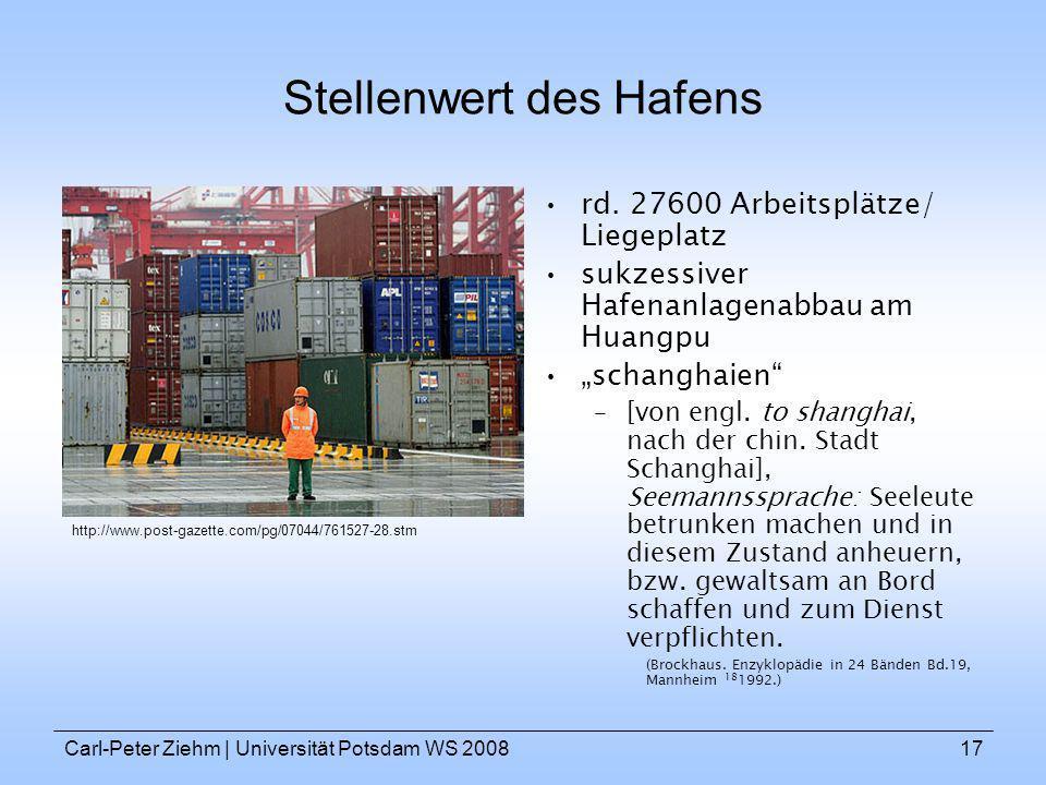 Carl-Peter Ziehm   Universität Potsdam WS 200817 Stellenwert des Hafens rd. 27600 Arbeitsplätze/ Liegeplatz sukzessiver Hafenanlagenabbau am Huangpu s