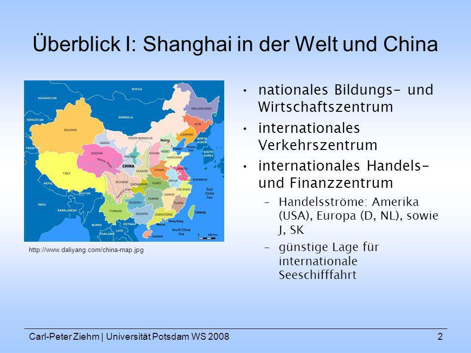 Carl-Peter Ziehm   Universität Potsdam WS 20082 Überblick I: Shanghai in der Welt und China nationales Bildungs- und Wirtschaftszentrum internationale