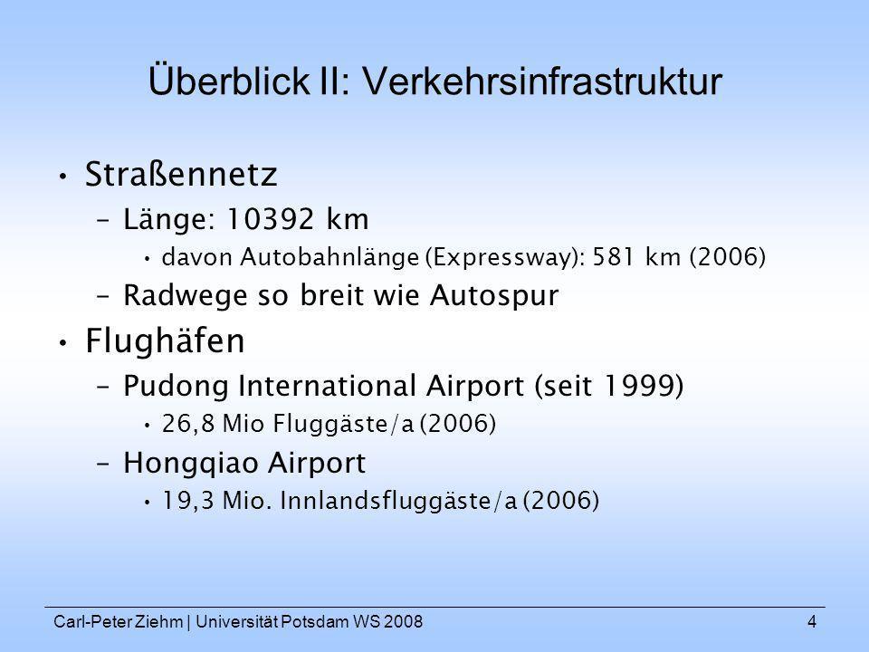 Carl-Peter Ziehm   Universität Potsdam WS 20084 Überblick II: Verkehrsinfrastruktur Straßennetz –Länge: 10392 km davon Autobahnlänge (Expressway): 581