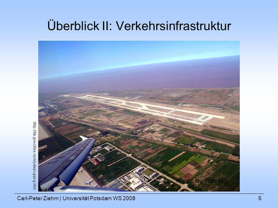 Carl-Peter Ziehm   Universität Potsdam WS 20085 Überblick II: Verkehrsinfrastruktur http://hk.geocities.com/yalepvg/pvg.htm