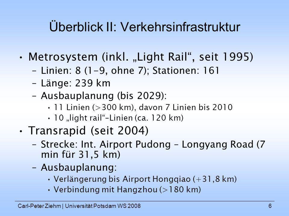 Carl-Peter Ziehm   Universität Potsdam WS 20086 Überblick II: Verkehrsinfrastruktur Metrosystem (inkl. Light Rail, seit 1995) –Linien: 8 (1-9, ohne 7)