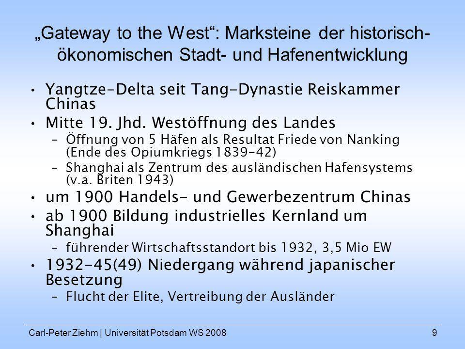 Carl-Peter Ziehm   Universität Potsdam WS 20089 Gateway to the West: Marksteine der historisch- ökonomischen Stadt- und Hafenentwicklung Yangtze-Delta