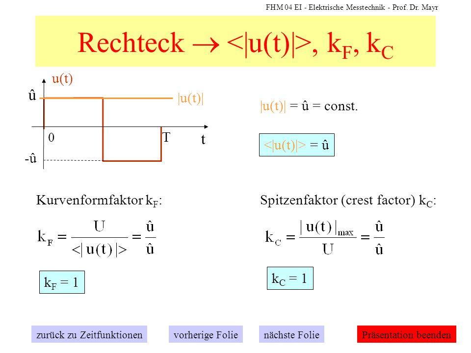 FHM 04 EI - Elektrische Messtechnik - Prof. Dr. Mayr Rechteck, k F, k C t 0 û T -û u(t) zurück zu Zeitfunktionennächste Folievorherige FoliePräsentati