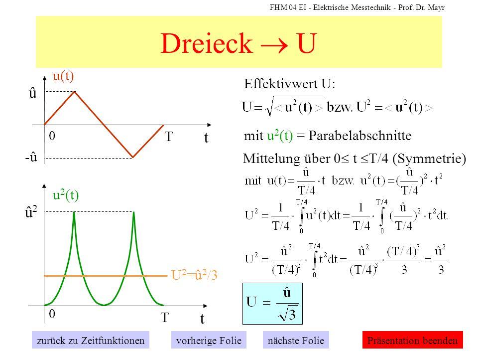 FHM 04 EI - Elektrische Messtechnik - Prof. Dr. Mayr Effektivwert U: Dreieck U t 0 û T -û u(t) zurück zu Zeitfunktionennächste Folievorherige FoliePrä