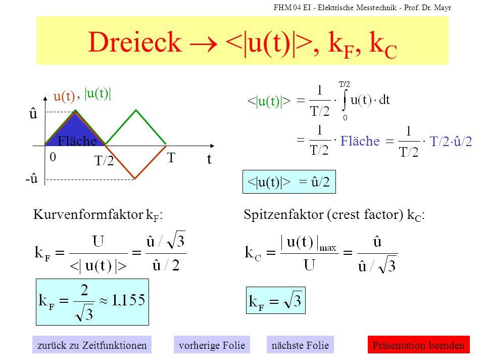 FHM 04 EI - Elektrische Messtechnik - Prof. Dr. Mayr Dreieck, k F, k C zurück zu Zeitfunktionennächste Folievorherige FoliePräsentation beenden, |u(t)