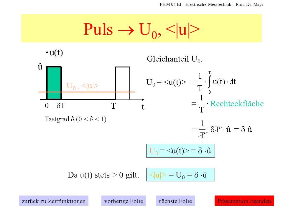 FHM 04 EI - Elektrische Messtechnik - Prof. Dr. Mayr Puls U 0, Gleichanteil U 0 : U 0 = Rechteckfläche T û = û t u(t) 0 T û T Tastgrad (0 < < 1) U 0 =