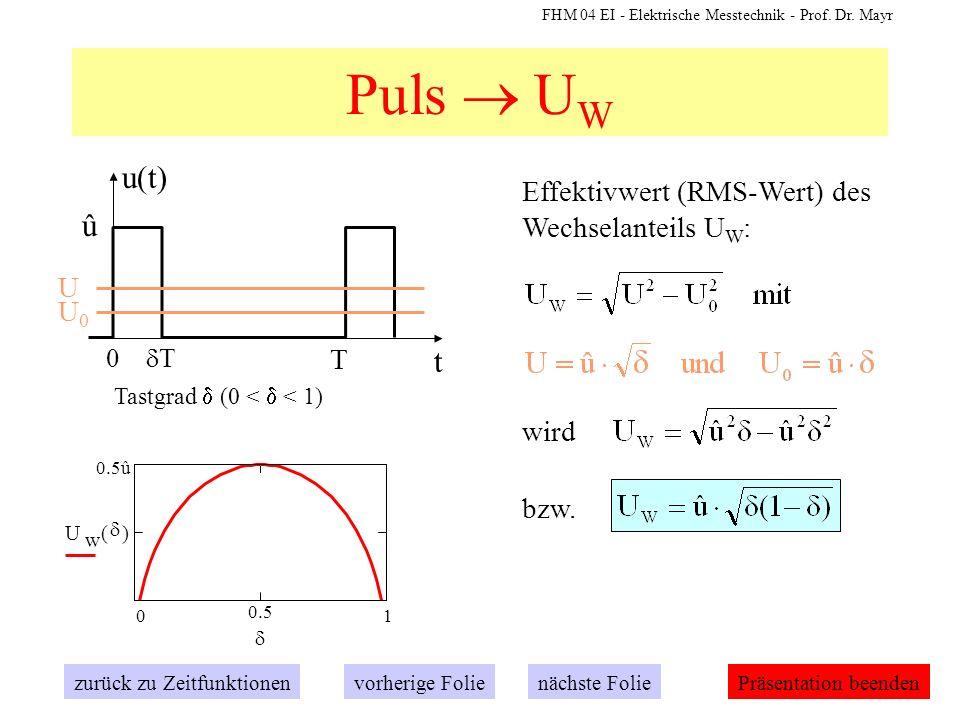 FHM 04 EI - Elektrische Messtechnik - Prof. Dr. Mayr Puls U W Effektivwert (RMS-Wert) des Wechselanteils U W : t u(t) 0 T û T Tastgrad (0 < < 1) zurüc