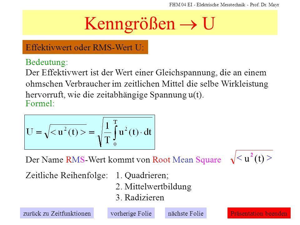 FHM 04 EI - Elektrische Messtechnik - Prof. Dr. Mayr Kenngrößen U Effektivwert oder RMS-Wert U: zurück zu Zeitfunktionennächste Folievorherige FoliePr