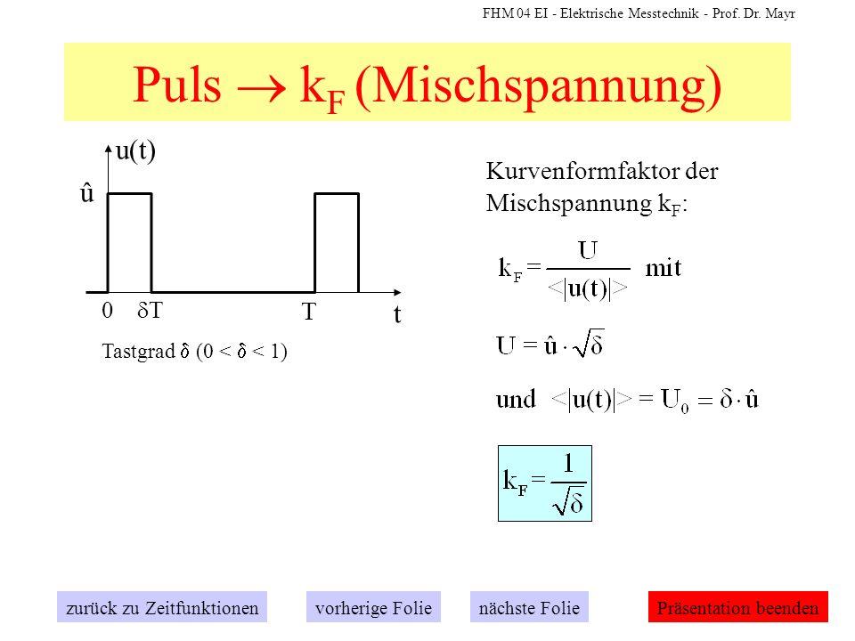 FHM 04 EI - Elektrische Messtechnik - Prof. Dr. Mayr Puls k F (Mischspannung) zurück zu Zeitfunktionennächste Folievorherige FoliePräsentation beenden