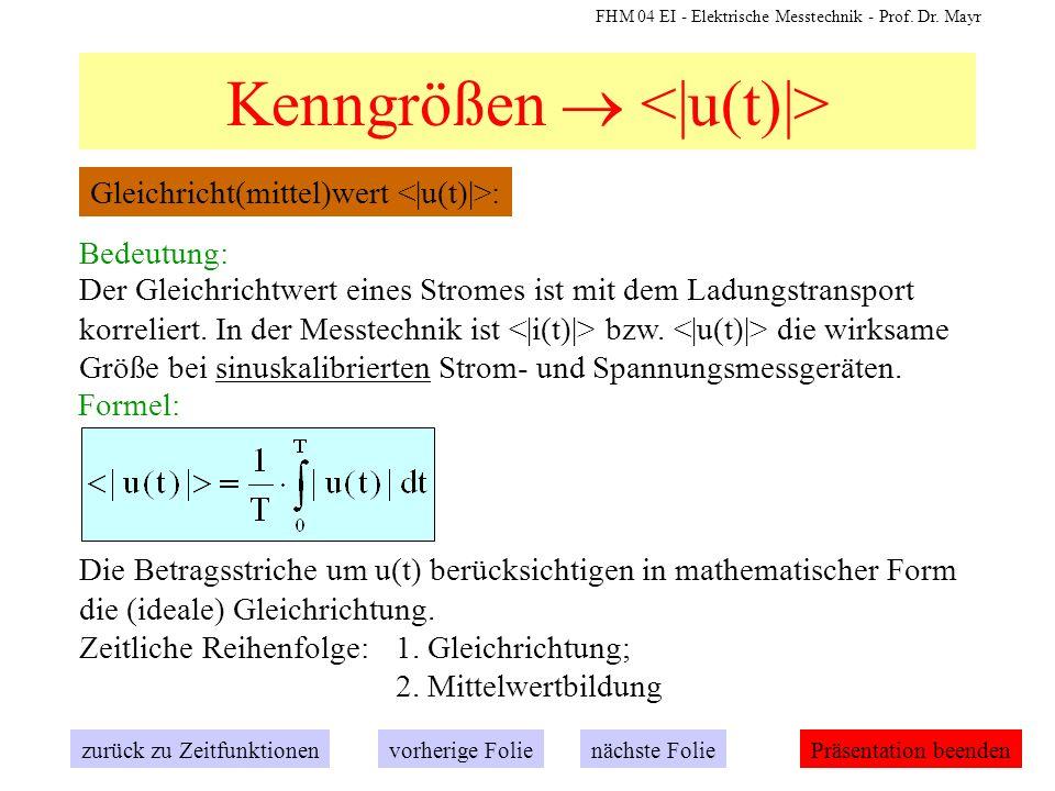 FHM 04 EI - Elektrische Messtechnik - Prof. Dr. Mayr Kenngrößen Gleichricht(mittel)wert : zurück zu Zeitfunktionennächste Folievorherige FoliePräsenta