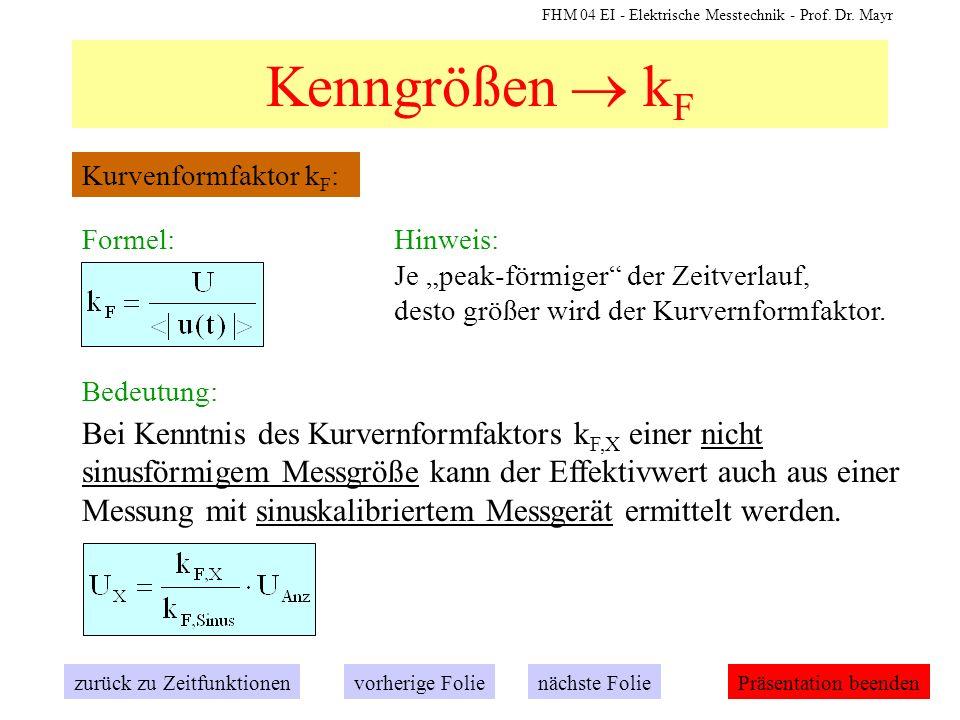 FHM 04 EI - Elektrische Messtechnik - Prof. Dr. Mayr Kenngrößen k F zurück zu Zeitfunktionennächste Folievorherige FoliePräsentation beenden Kurvenfor