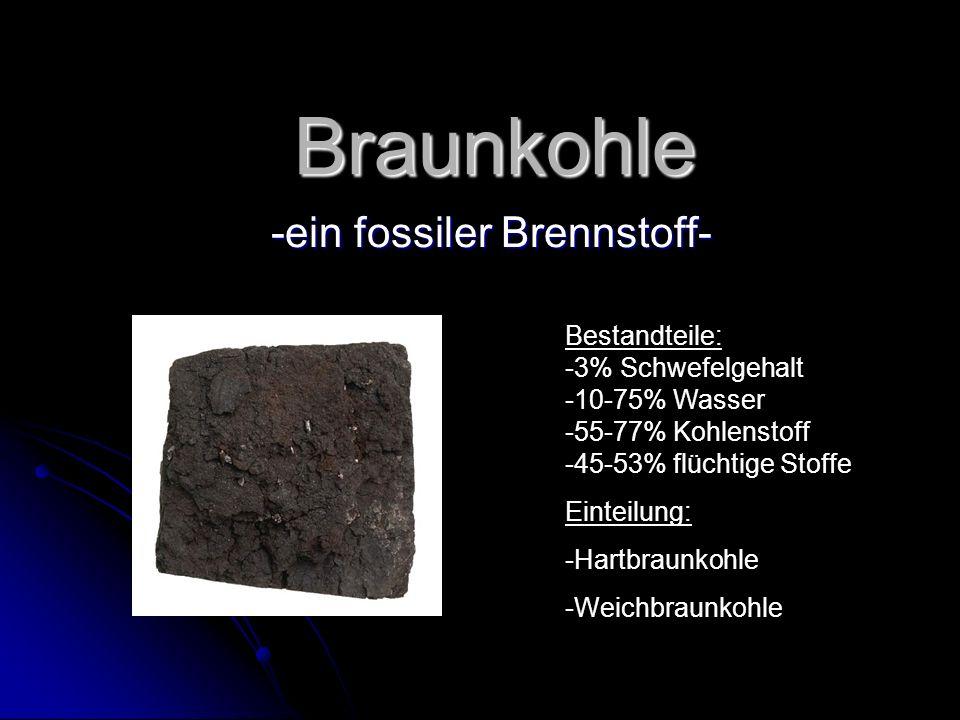 Braunkohle -ein fossiler Brennstoff- Bestandteile: -3% Schwefelgehalt -10-75% Wasser -55-77% Kohlenstoff -45-53% flüchtige Stoffe Einteilung: -Hartbra