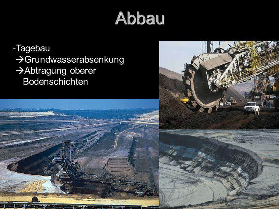 Abbau -Tagebau Grundwasserabsenkung Abtragung oberer Bodenschichten