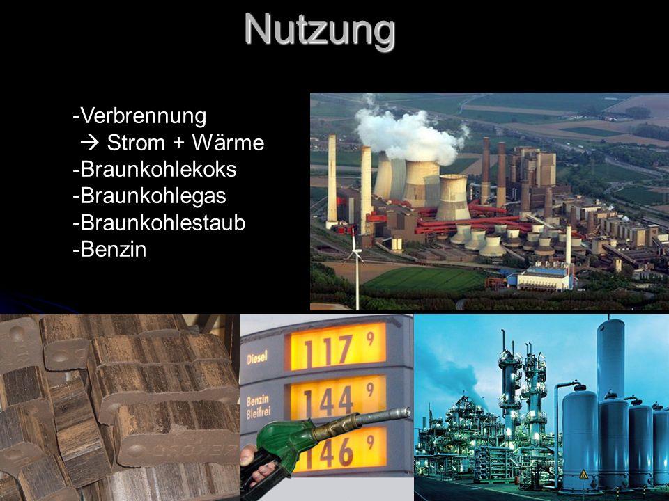 Nutzung -Verbrennung Strom + Wärme -Braunkohlekoks -Braunkohlegas -Braunkohlestaub -Benzin