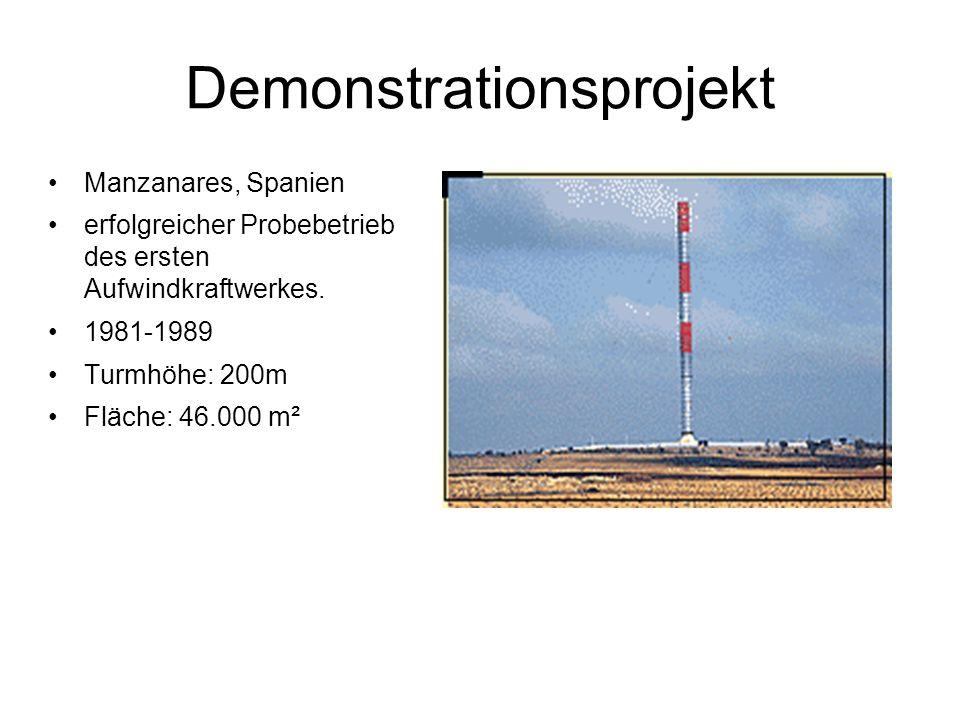 Demonstrationsprojekt Manzanares, Spanien erfolgreicher Probebetrieb des ersten Aufwindkraftwerkes.