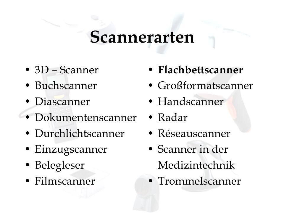 Scannerarten 3D – Scanner Buchscanner Diascanner Dokumentenscanner Durchlichtscanner Einzugscanner Belegleser Filmscanner Flachbettscanner Großformats