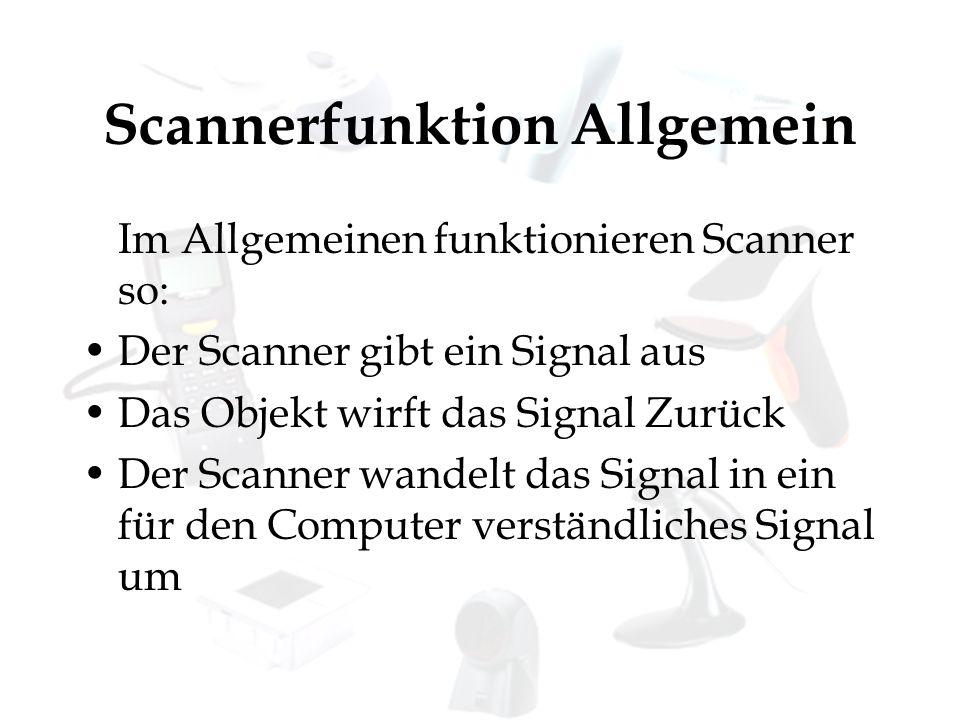 Scannerfunktion Allgemein Im Allgemeinen funktionieren Scanner so: Der Scanner gibt ein Signal aus Das Objekt wirft das Signal Zurück Der Scanner wand