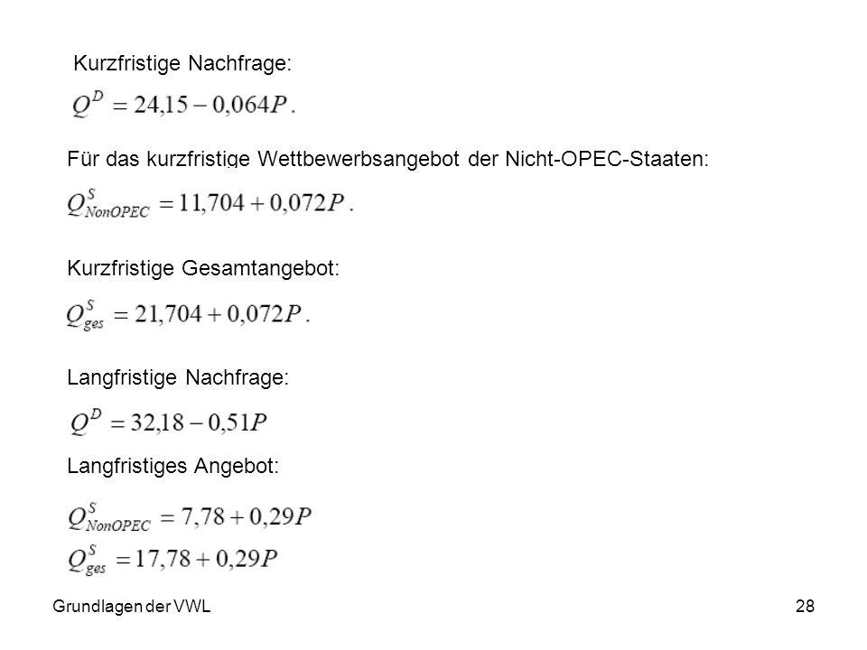 Grundlagen der VWL28 Kurzfristige Nachfrage: Für das kurzfristige Wettbewerbsangebot der Nicht-OPEC-Staaten: Kurzfristige Gesamtangebot: Langfristige
