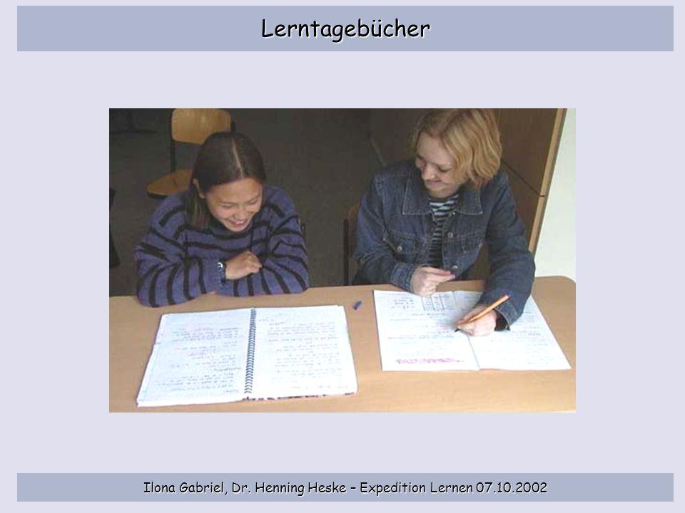Ilona Gabriel, Dr. Henning Heske – Expedition Lernen 07.10.2002 Lerntagebücher
