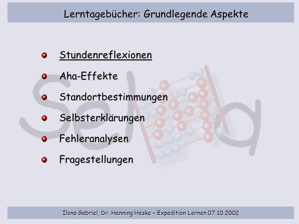Lerntagebücher: Grundlegende Aspekte Stundenreflexionen Aha-EffekteStandortbestimmungenSelbsterklärungenFehleranalysenFragestellungen