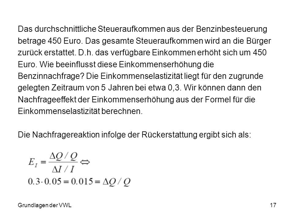 Grundlagen der VWL17 Das durchschnittliche Steueraufkommen aus der Benzinbesteuerung betrage 450 Euro. Das gesamte Steueraufkommen wird an die Bürger
