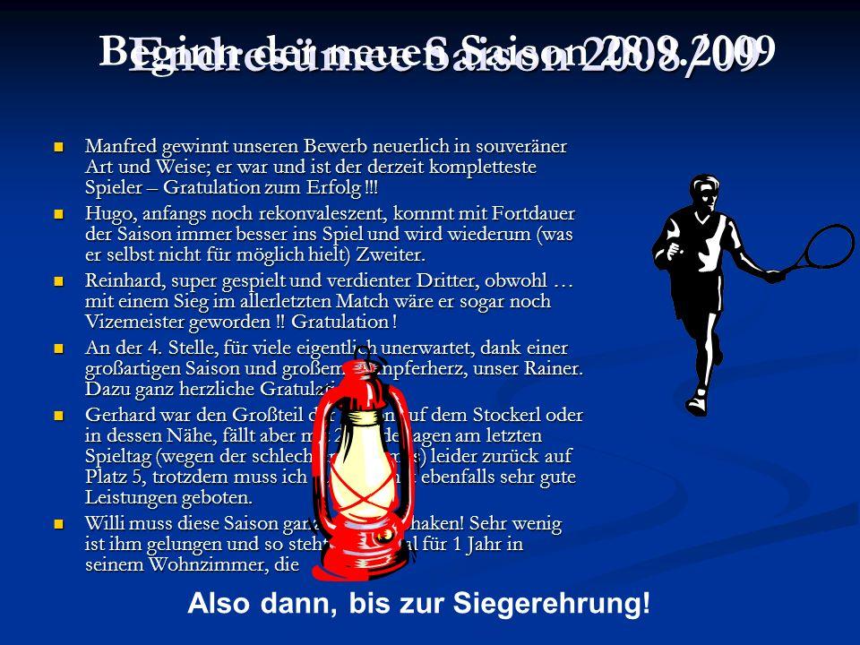 Endresümee Saison 2008/09 Manfred gewinnt unseren Bewerb neuerlich in souveräner Art und Weise; er war und ist der derzeit kompletteste Spieler – Gratulation zum Erfolg !!.