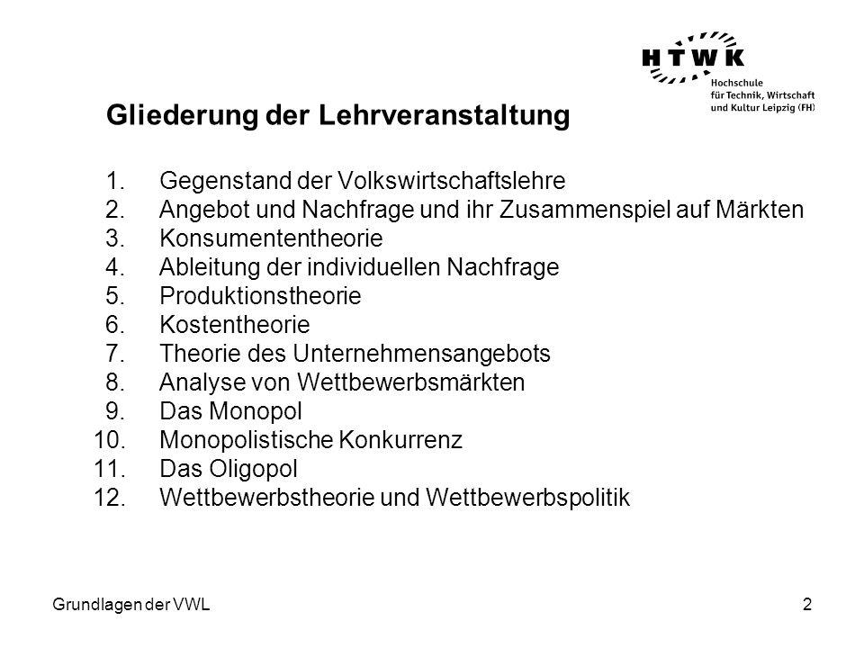 Grundlagen der VWL3 Ausgewählte Literatur: Varian, Hal R.: Grundzüge der Mikroökonomik, 7., überarb.