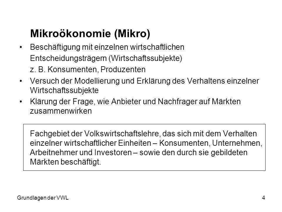 Grundlagen der VWL4 Mikroökonomie (Mikro) Beschäftigung mit einzelnen wirtschaftlichen Entscheidungsträgern (Wirtschaftssubjekte) z. B. Konsumenten, P
