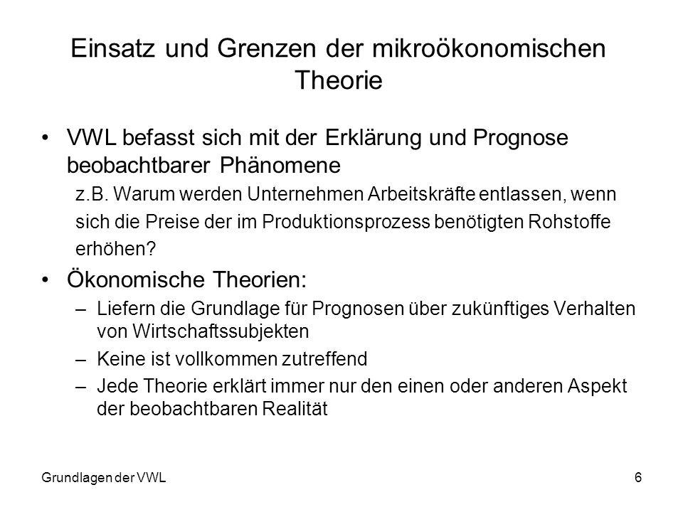Grundlagen der VWL6 Einsatz und Grenzen der mikroökonomischen Theorie VWL befasst sich mit der Erklärung und Prognose beobachtbarer Phänomene z.B. War