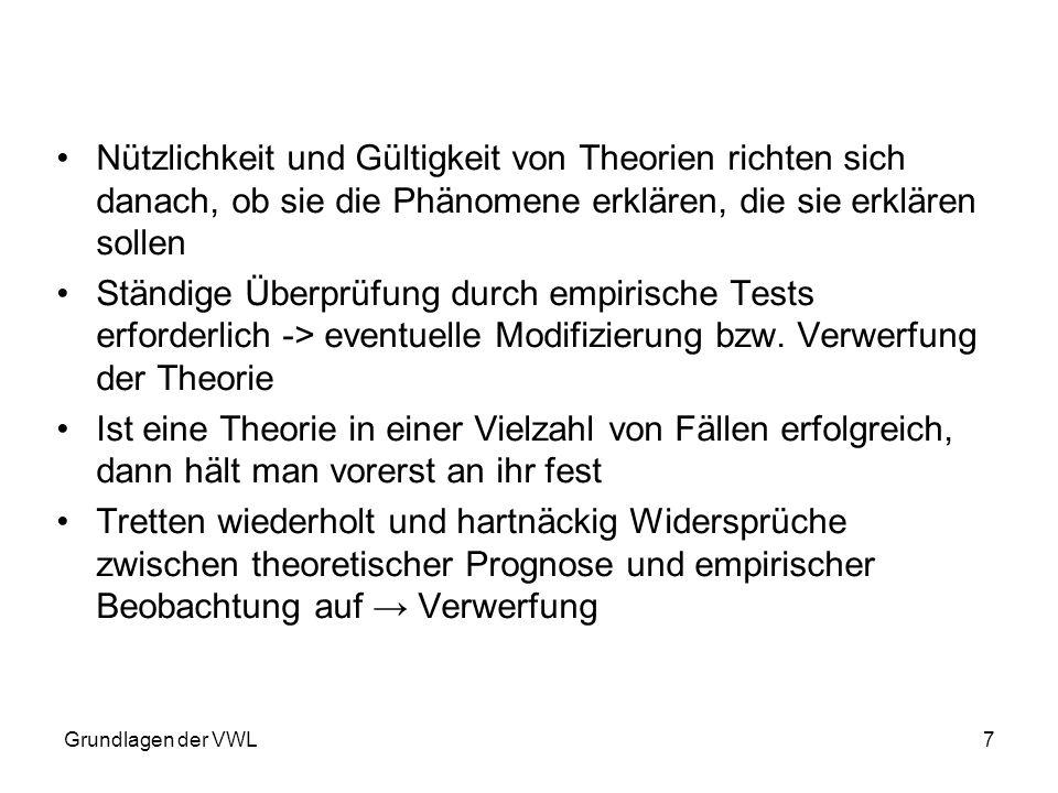 Grundlagen der VWL8 Falsifikation (Widerlegbarkeit) – Kriterium für Wissenschaftlichkeit – Wissenschaftliche Aussagen können erheblich eingegrenzt werden -> Falsifizierbar sind nur solche Aussagen, die eine Behauptung enthalten, dass etwas in der Realität so und nicht anders ist.