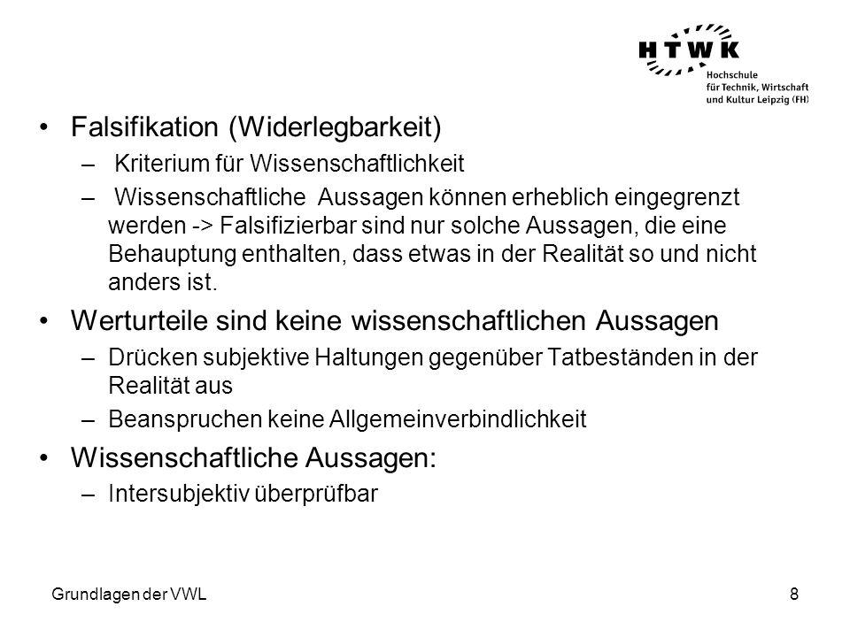 Grundlagen der VWL9 Die Rationalitätsannahme Annahme bezüglich des Verhaltens der Wirtschaftssubjekte: –Vollständige Rationalität, d.h.