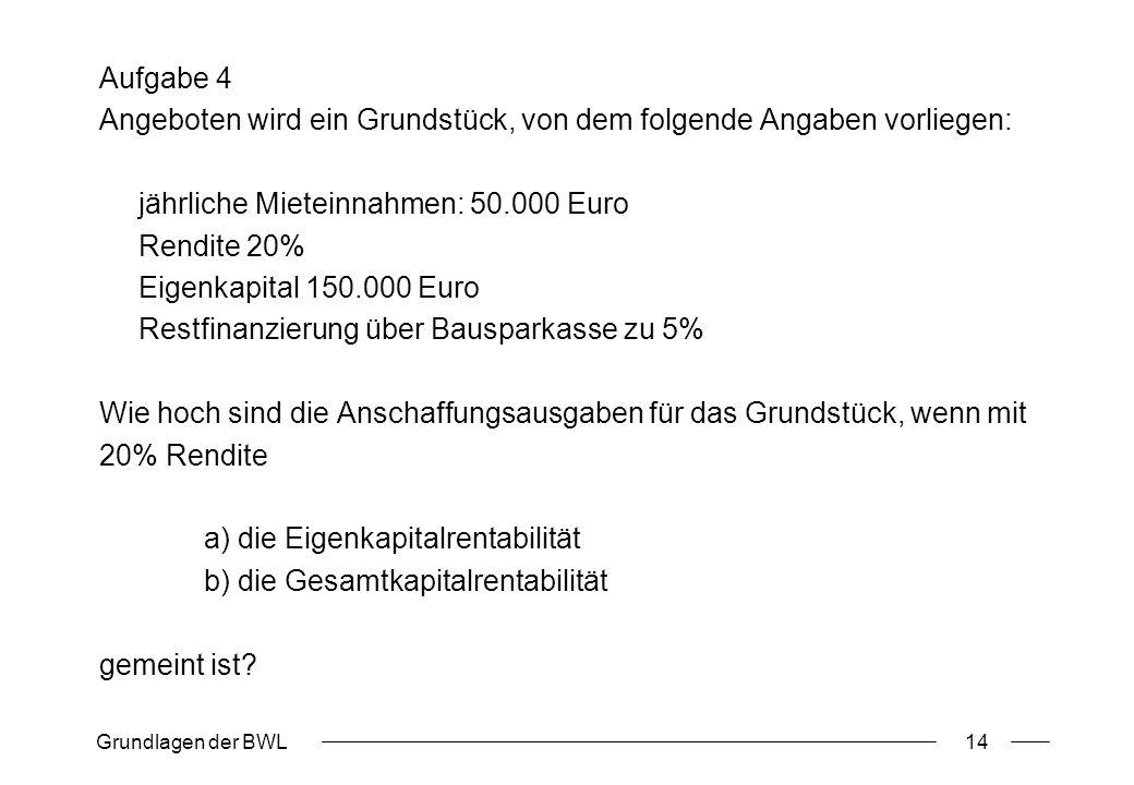 Grundlagen der BWL14 Aufgabe 4 Angeboten wird ein Grundstück, von dem folgende Angaben vorliegen: jährliche Mieteinnahmen: 50.000 Euro Rendite 20% Eigenkapital 150.000 Euro Restfinanzierung über Bausparkasse zu 5% Wie hoch sind die Anschaffungsausgaben für das Grundstück, wenn mit 20% Rendite a) die Eigenkapitalrentabilität b) die Gesamtkapitalrentabilität gemeint ist?