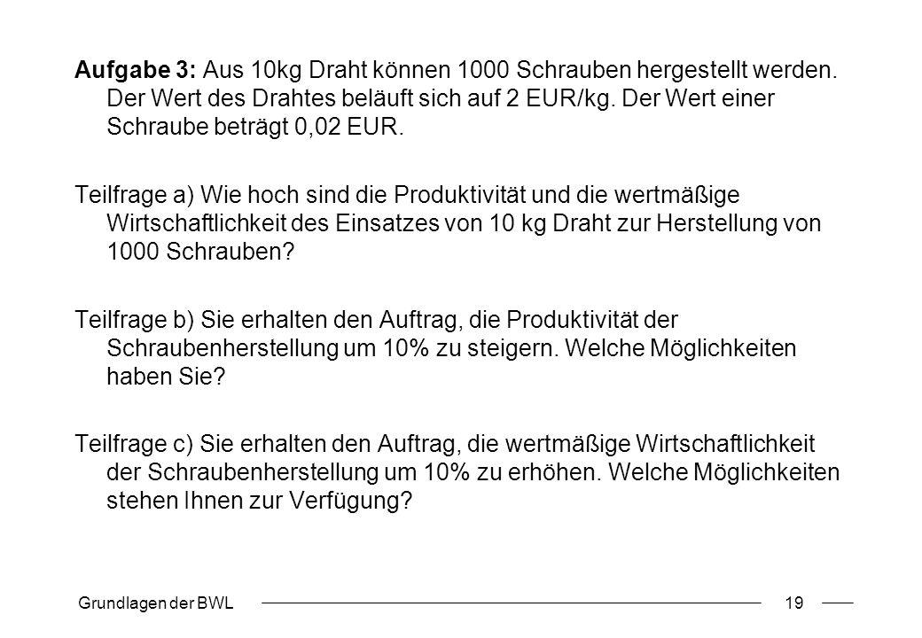 Grundlagen der BWL19 Aufgabe 3: Aus 10kg Draht können 1000 Schrauben hergestellt werden. Der Wert des Drahtes beläuft sich auf 2 EUR/kg. Der Wert eine